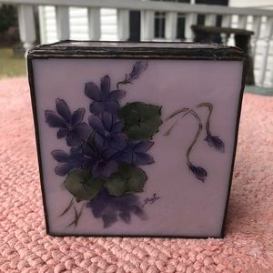Vintage Purple Stained Glass Floral Box Trinket